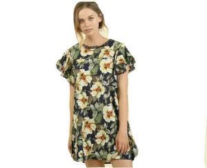 Umgee Dress Small Hawaiian Floral Hibiscus Print